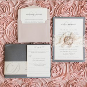 Lace and Brooch Wedding Invitation