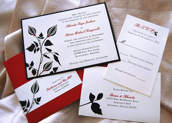 Red & Black Flower Bud Wedding Invitation