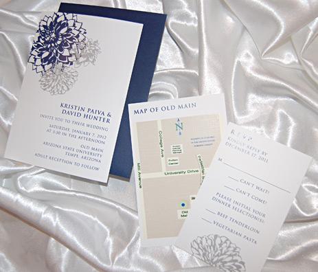 Navy Dahlia Flower Wedding Invitation
