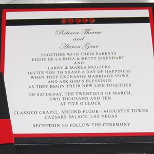 Red & Black Rhinestone Wedding Invitation