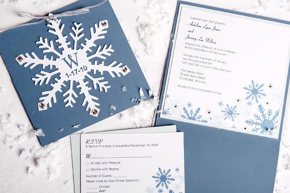 Snowflake Cutout Wedding Invitation