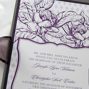 Purple and Gray Flower Wedding Invitation