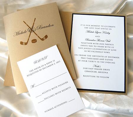Hockey Monogram Wedding Invitation