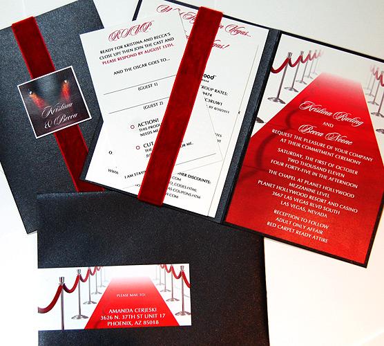 Red Carpet Folded Wedding Invitation