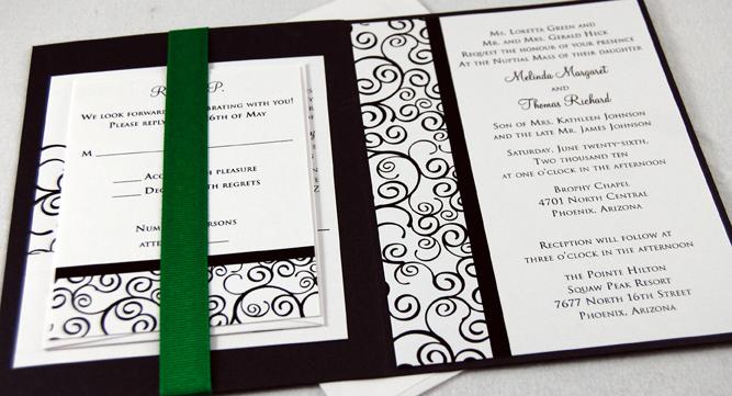 Curly Swirl Folded Wedding Invitation