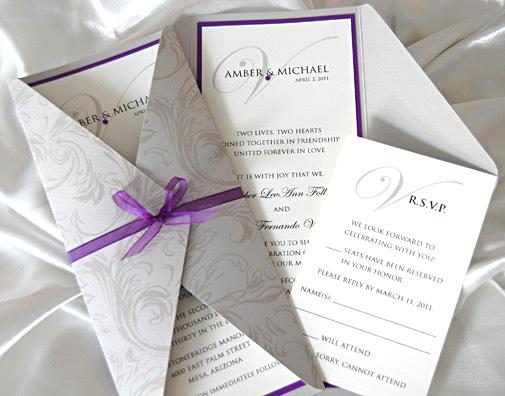 Patterned Gatefold Wedding Invitation