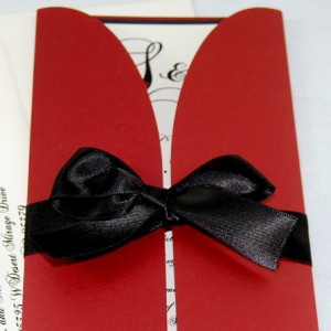 Red & Black Bow Gate-Fold Wedding Invitation