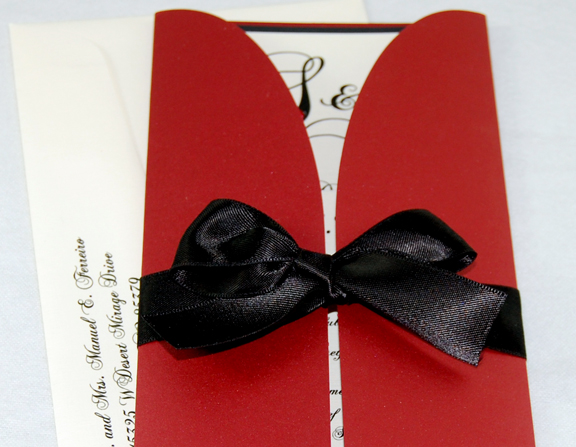 Red & Black Bow Gate-Fold Wedding Invitation