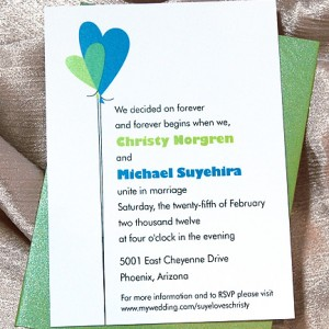 Heart Balloons Simple Wedding Invitation