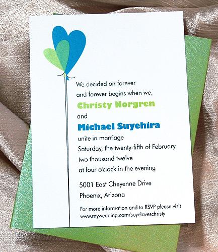 Heart Balloons Simple Wedding Invitation