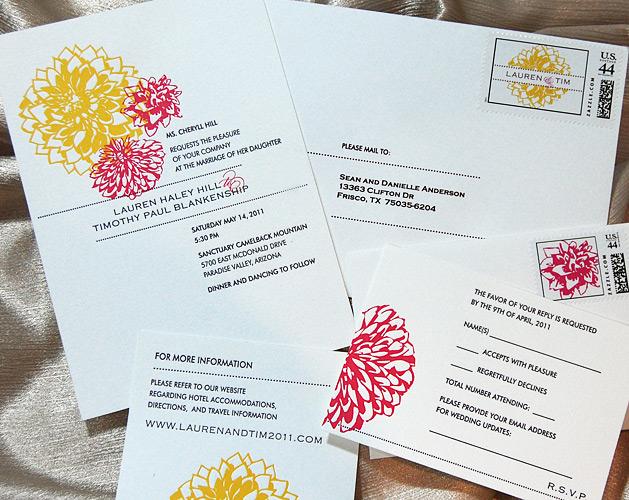 Letterpress Dahlia Wedding Invitation