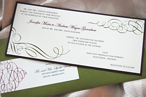 Long Scroll Swirls Wedding Invitation