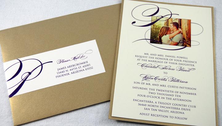 Photo & Initial Wedding Invitation
