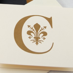 Fleur de Lis Monogram Pocket Invitation