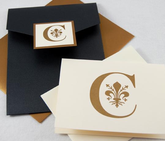Fleur de Lis Monogram Pocket Invitation