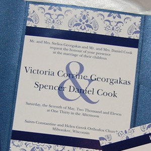 Patterned Blue Pocket Wedding Invitation