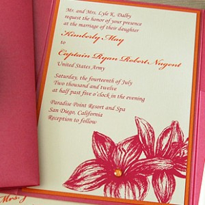 Pink & Orange Flowers Pocket Invitation