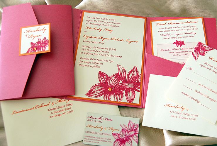 Pink & Orange Flowers Pocket Invitation