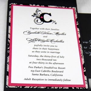 Pink Damask Monogram Wedding Invitation