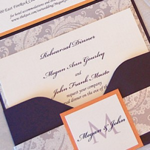 Paisley Pattern Pocket Wedding Invitation