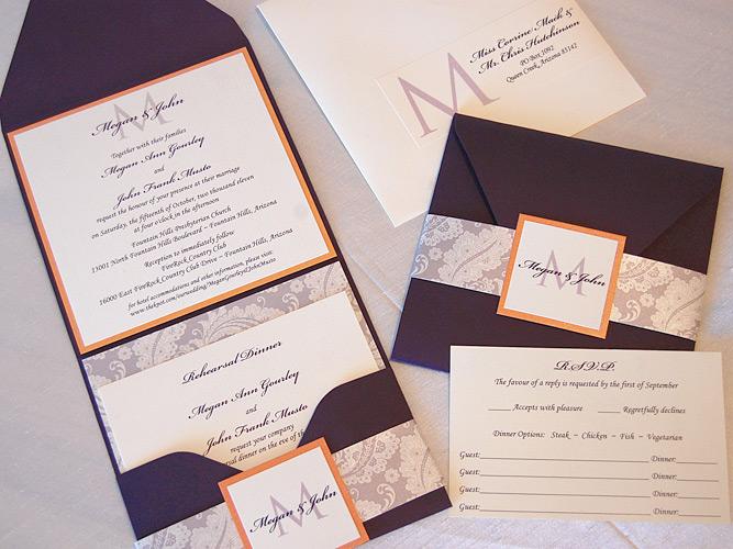 Paisley Pattern Pocket Wedding Invitation