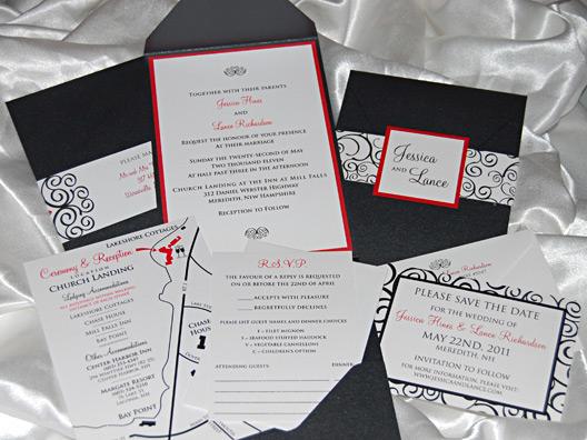 Swirly Pattern Wedding Invitation Suite