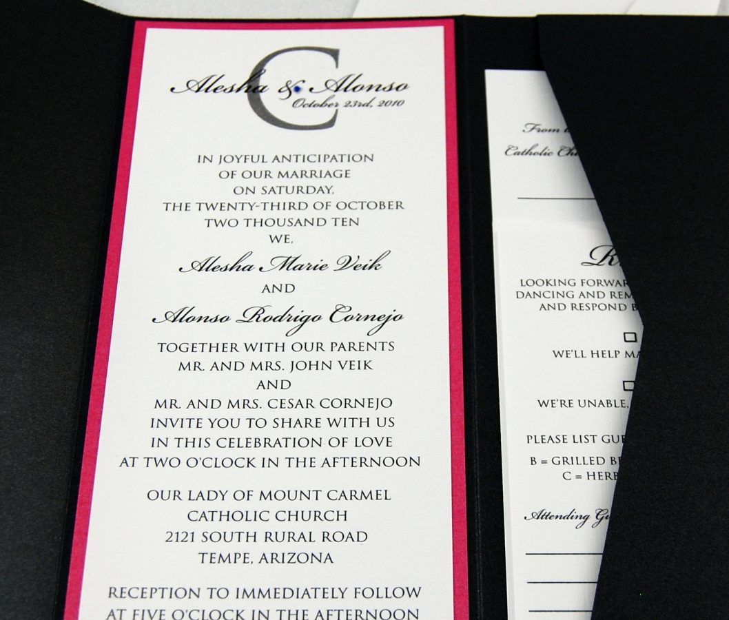 Rhinestone Monogram Wedding Invitation