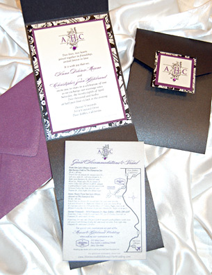 Filigree Monogram  Wedding Invitation