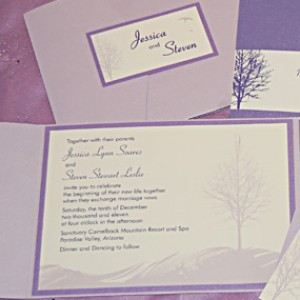 Lavender Tree Silhouette Pocket Invitation