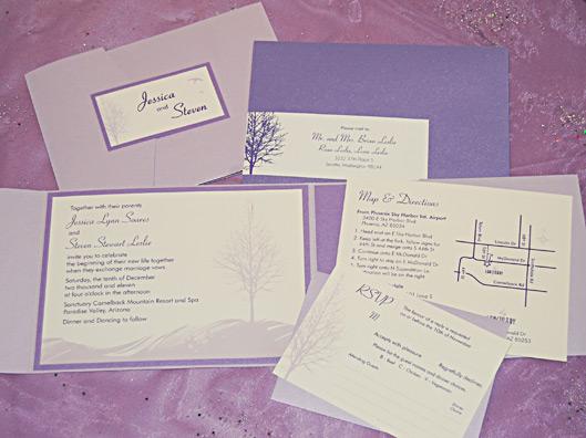 Lavender Tree Silhouette Pocket Invitation