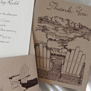 Drawn Mountains Pocket Card Wedding Invitation