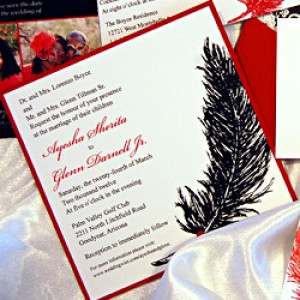 Feather Pocket Card Wedding Invitation