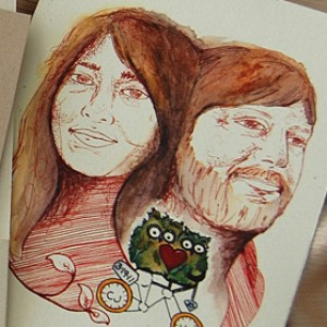 Hand Drawn Couple Wedding Invitation