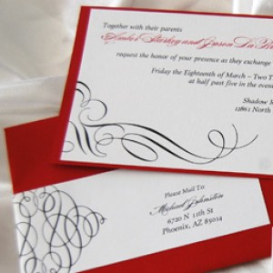 Layered Scroll Design Wedding Invitation