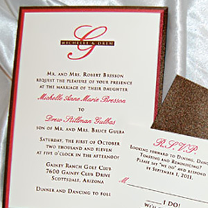 Layered Monogram Wedding Invitation Suite