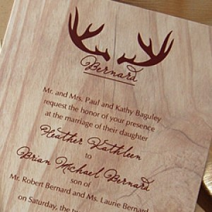 Antlers Monogram Faux Wood Invitation