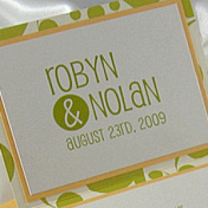 Green Dot Z-fold Wedding Invitation