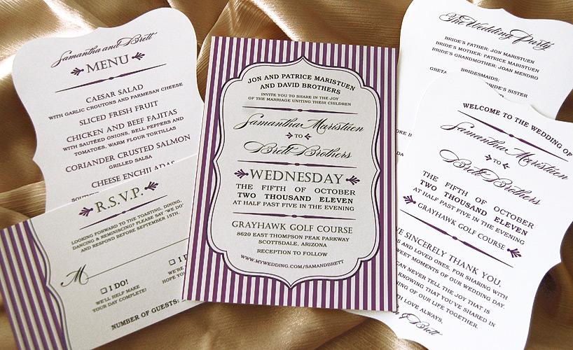 Striped Bracket Edge Wedding Invites