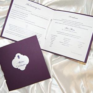 Plum Wedding Reception Program Booklet