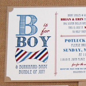 Bow Tie Pattern Baby Shower Invitation