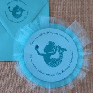 Mermaid Tull Circle Birthday Party Invitation