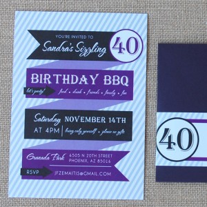 Modern Banners Birthday Party Invitation