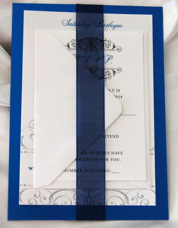 Cobalt Monogram Glitter Wedding Invitation 2 of 2
