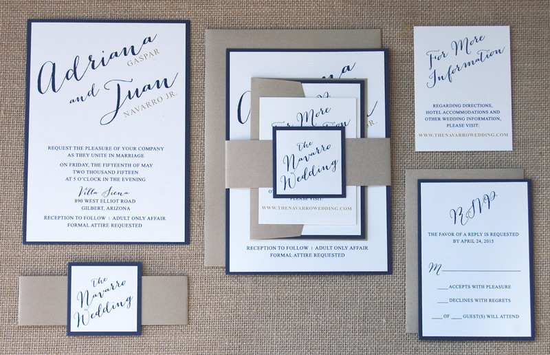 Neutral and Navy Belly Band Invitation