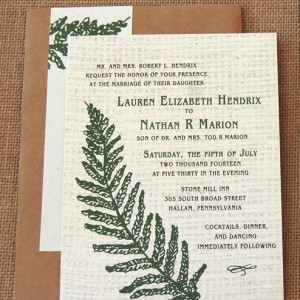 Fern and Burlap RSVP and Wedding Invitation