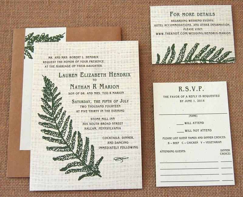 Fern and Burlap RSVP and Wedding Invitation
