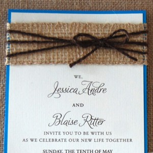 Yarn and Burlap Belly Band Wedding Invitation