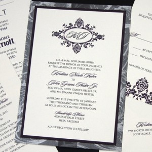 Grey Floral Monogram Wedding Invitation