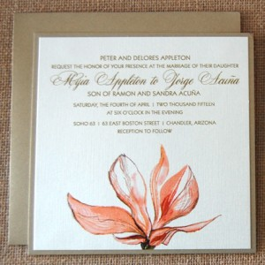 Gold and Coral Flowers Wedding Invitation