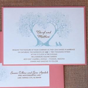 Blue Tree Branch Heart Wedding Invitation